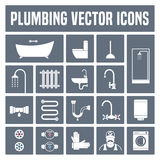 Collection of vector plumbing icons in set Stock Image