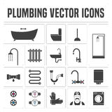 Collection of vector  plumbing symbols and icons. Illustrations of droplet, pipes, faucet, handyman, bathtub Stock Photo