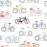 Collection of vector realistic bicycles vintage style old bike seamless pattern background transport illustration. Collection of vector realistic bicycles Royalty Free Stock Image