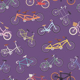 Collection of vector realistic bicycles vintage style old bike seamless pattern background transport illustration. Collection of vector realistic bicycles Stock Photos