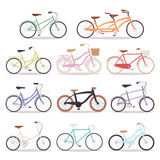 Collection of vector realistic bicycles vintage style wedding design old bike design transport illustration Royalty Free Stock Photography