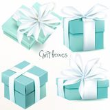 Collection of vector realistic gift boxes. Collection of vector realistic blue gift boxes Stock Photo