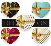 Collection of vector realistic heart shaped gift box with bow and ribbon, patterns, flat lay top view stock illustration