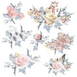 Collection of vector realistic pastel roses for wedding design i. N vintage style Stock Image