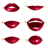 Collection of vector red female lips with makeup, different emot Royalty Free Stock Photography