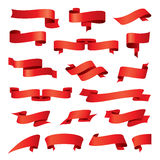 Collection of vector red ribbons Royalty Free Stock Images