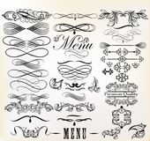Collection of vector retro design calligraphic  elements and pag Royalty Free Stock Photos