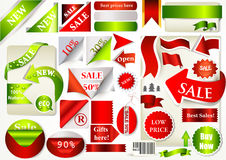Collection of vector ribbons, banners and stickers for sale desi Stock Image
