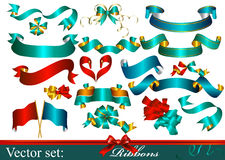 Collection of vector ribbons and bows Stock Photo