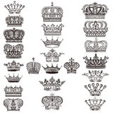 Collection of vector royal crowns for design Stock Image