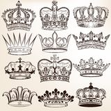 Collection of vector royal crowns for heraldic design Stock Image