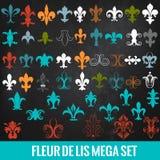 Collection of vector royal fleur de lis for design Stock Images