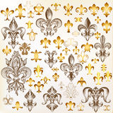 Collection of vector royal fleur de lis for design Royalty Free Stock Image
