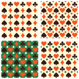 Collection of vector seamless backgrounds with playing cards sym. Set of vector seamless backgrounds with playing cards symbols.  Endless texture can be used for Royalty Free Stock Images