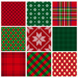 Collection of vector seamless christmas backgrounds Royalty Free Stock Photo