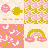 Set of Fall inspired Patterns and posters. Stock Photos