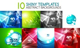 Collection of vector shiny light templates, glowing colors abstract backgrounds designs Stock Photos