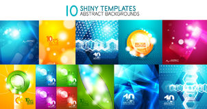 Collection of vector shiny light templates, glowing colors abstract backgrounds designs Stock Photo
