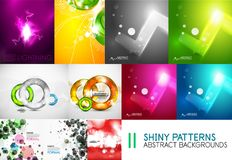 Collection of vector shiny light templates, glowing colors abstract backgrounds designs Stock Photography
