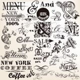 Collection of vector signatures and the and menu in antique styl Stock Image