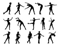 Collection of vector silhouettes of dancing girls isolated on white background. stock illustration