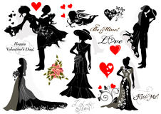 Collection of vector silhouettes groom and bride couples stock illustration