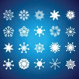 Collection of vector snowflakes. In different shape Royalty Free Stock Photo