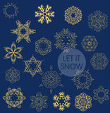 Collection of vector snowflakes Royalty Free Stock Images