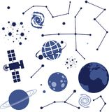 Collection of vector space elements Royalty Free Stock Image