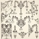 Collection of vector  street lamps and calligraphic elements Royalty Free Stock Images