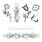 Collection vector stylish black white flowers Stock Photo