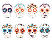 Sugar Skulls - Day of the Dead. White flower skulls for Halloween, scrapbooking and fabric designs Royalty Free Stock Photo