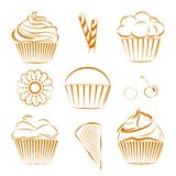 Collection of vector sweets, cupcakes. Outline. Vector set of hand drawn cupcakes with different toppings, cherries, cookie, waffle sticks. Unique set for Royalty Free Stock Photo