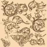 Collection of vector swirl elements in vintage style Royalty Free Stock Photos