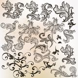 Collection of vector swirls in vintage style Royalty Free Stock Image