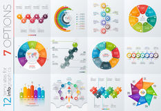 Collection of 12 vector templates for infographics with 7 options. For presentations, advertising, layouts, annual reports Stock Photo