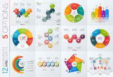 Collection of 12 vector templates for infographics with 5 options. For presentations, advertising, layouts, annual reports Royalty Free Stock Photography