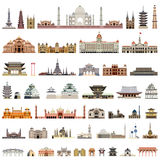 Collection of  vector temples, towers, cathedrals, pagodas, mausoleums. ancient buildings and other architectural monument Royalty Free Stock Images