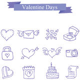 Collection vector valentine day icons. Vector illustration Stock Photo