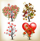 Collection of vector valentine trees decorated by roses flowers. Set of artistic trees for valentine design stock illustration