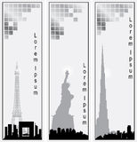Collection of vector vertical banners of cities vector illustration