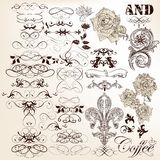 Collection of vector vintage calligraphic elements and page deco Royalty Free Stock Photo