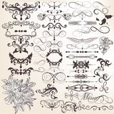 Collection of vector vintage decorative and calligraphic  elemen Royalty Free Stock Images