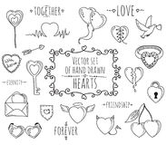 Collection of vector vintage style hearts Royalty Free Stock Photos