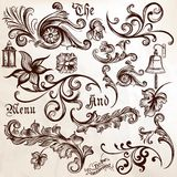 Collection of vector vintage swirl elements Stock Photography