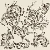 Collection of vector vintage swirl ornaments for design Royalty Free Stock Image