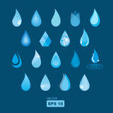 Collection of vector water drops Royalty Free Stock Images