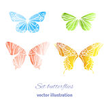 Collection Vector Watercolor Butterflies Stock Image