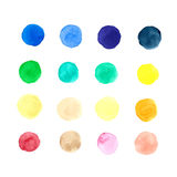 Collection of vector watercolor dots (circles) for design vector illustration