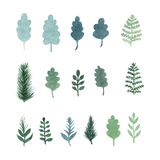 Collection of vector watercolor hand draw leaves and branches vector illustration